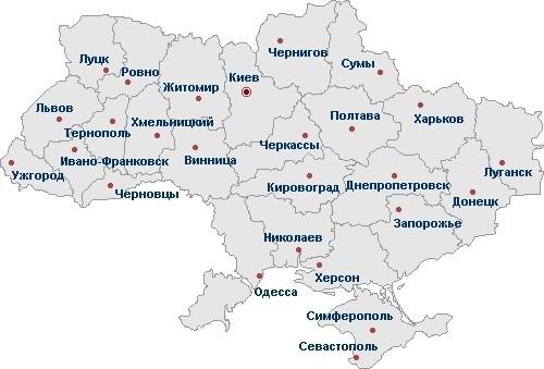 Mapa Ukrajina Oblasti Mapa